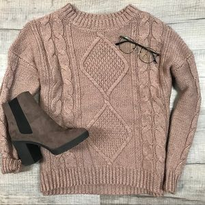 CHARLOTTE RUSSE Brown Cable Knit Crew Sweater Sz M